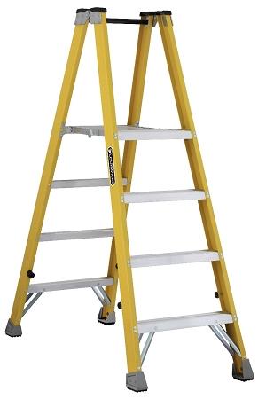 Louisville Fiberglass Twin Front Platform Ladder 4' 250lbs. Capacity