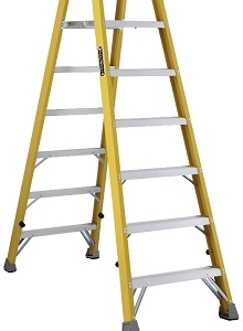 Louisville Fiberglass Twin Front Platform Ladder 8' 250lbs. Capacity