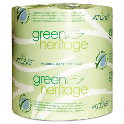 Green Heritage Toilet Tissue, 4 1/2 x 3 4/5 Sheets, 2-Ply