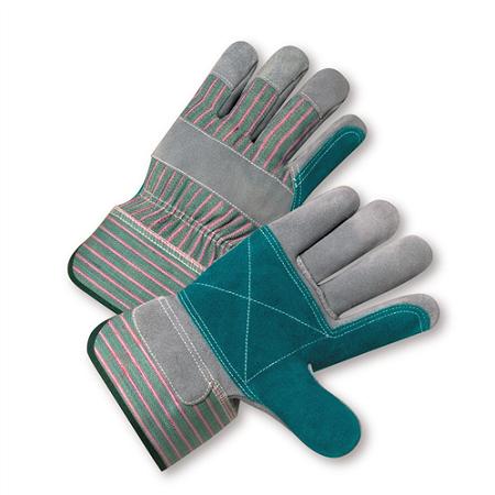 Select Split Cowhide Leather Double Palm Gloves, Dozen