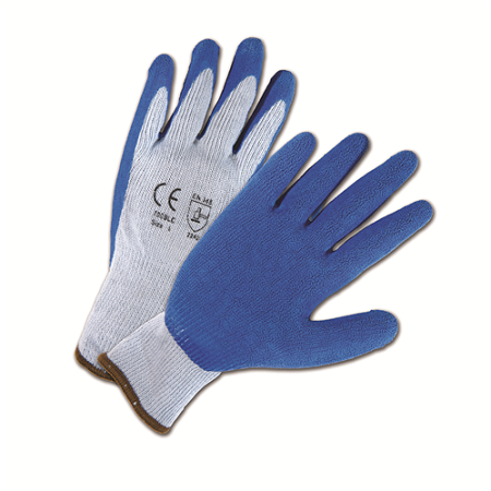 Blue Crinkle Finish Latex Palm Coated Gloves, Dozen