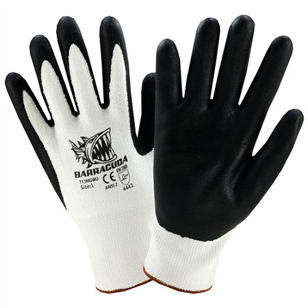 Barracuda White HPPE shell with black foam nitrile dip, Dozen
