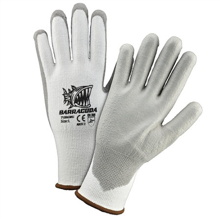 Barracuda White HPPE shell with grey PU dip cut protection gloves, Dozen