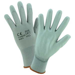 Gray PU Palm Coated Gray Nylon Gloves, Dozen