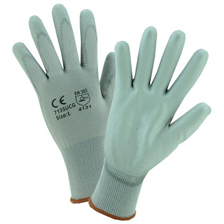 Gray PU Palm Coated Gray Nylon Gloves, Dozen