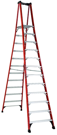 Louisville Fiberglass Pro Platform Ladder 12' 375lbs. Capacity