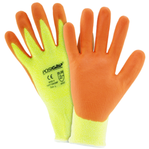 Hi Vis Yellow HPPE Orange Foam Nitrile Palm Coated Gloves, Dozen