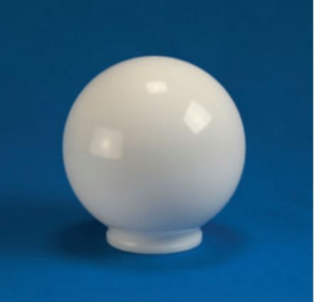 "Smooth Acrylic White Sphere DIA- 8"" ID- 2.81"" OD- 3.24"" (Screw Neck)"