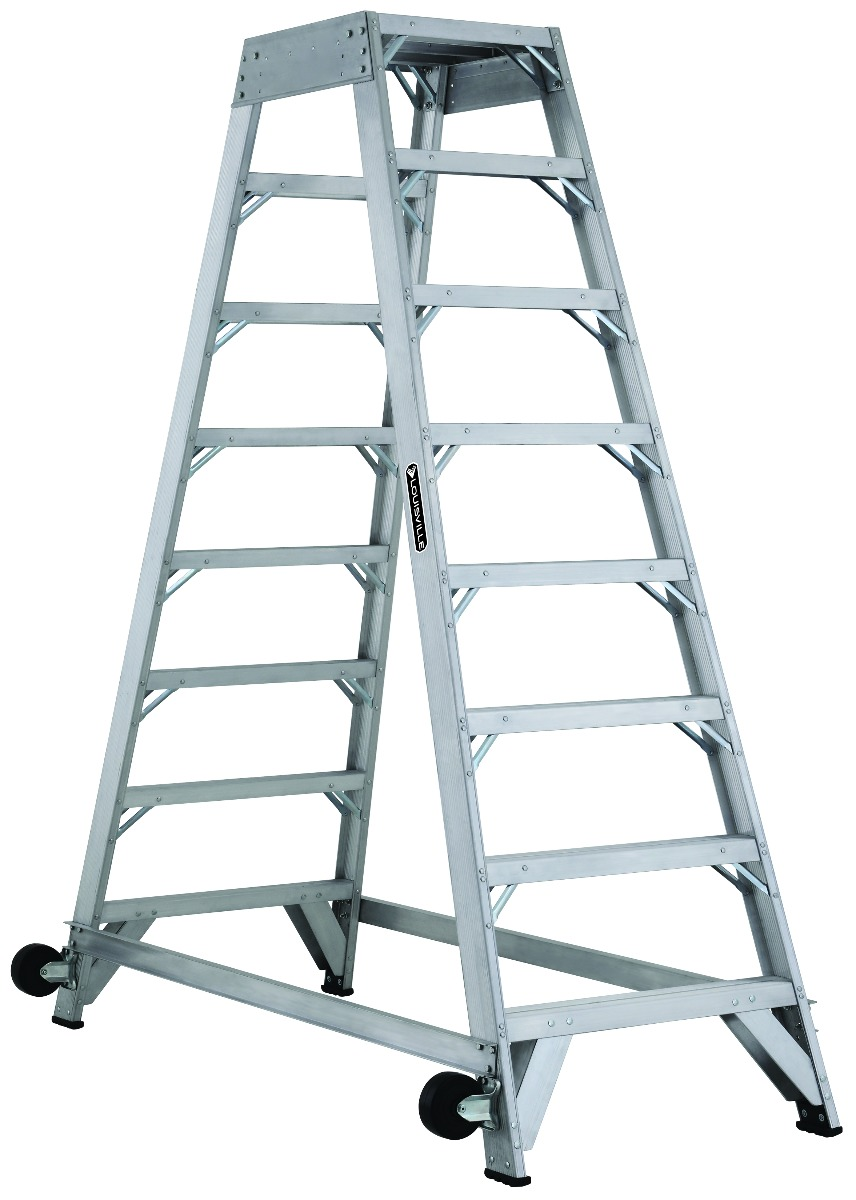 Louisville 8' Aluminum Twin Front Rolling Ladder