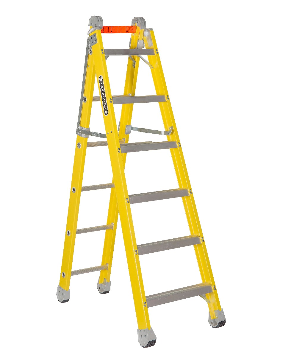 Louisville 6' Fiberglass Step to Straight Ladder 375lb. Capacity