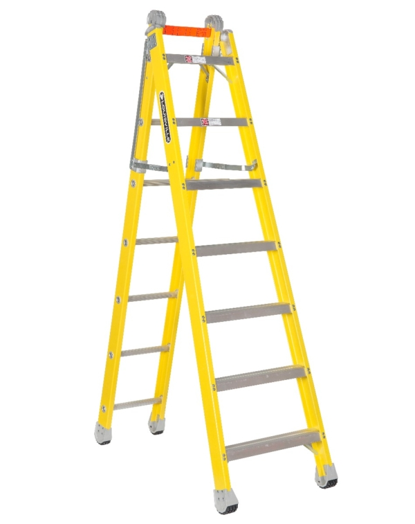Louisville 7' Fiberglass Step to Straight Ladder 375lb. Capacity