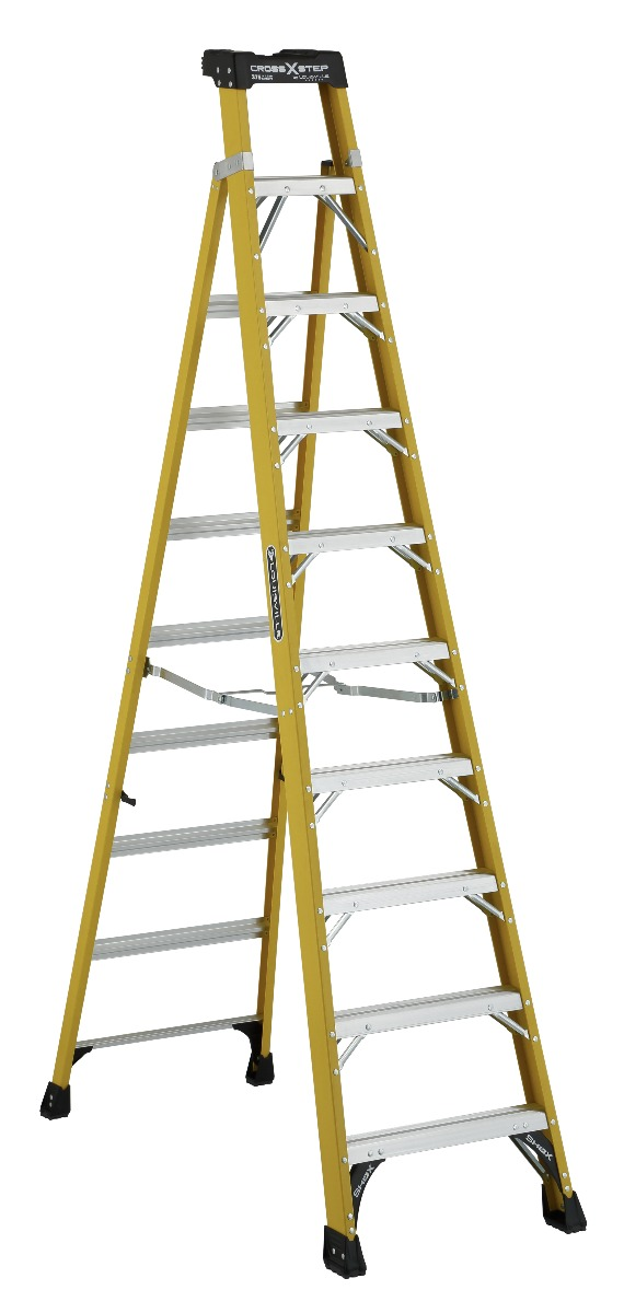 Louisville 10' Fiberglass Step to Shelf Ladder 375lb. Capacity
