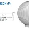 """Prismatic Polycarbonate Clear Sphere DIA- 20"""" ID- 5.06"""" OD- 5.91"""" (Fitter Neck)"""