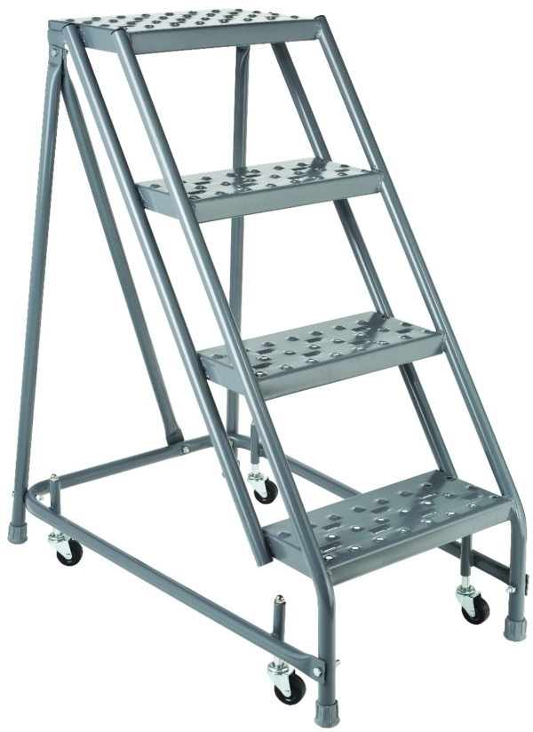 Louisville 4' Steel Rolling Warehouse Ladder 450lbs. Capacity No Handrails