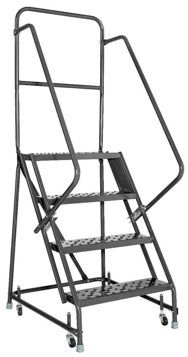 Louisville 5' Steel Rolling Warehouse Ladder 450lbs. Capacity With Handrails