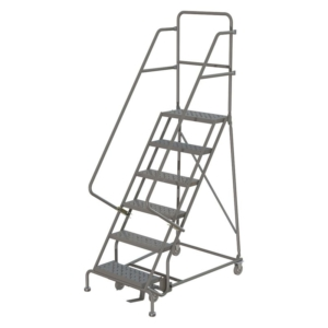 Louisville 6' Steel Rolling Warehouse Ladder 450lbs. Capacity With Handrails