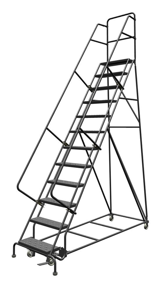 Louisville 13' Steel Rolling Warehouse Ladder 450lbs. Capacity With Handrails
