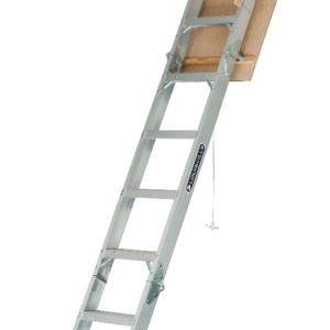 "Louisville Aluminum Attic Step Ladder 25 1/2"" X 54"" Rough Opening - Elite Series 375lbs. Capacity"
