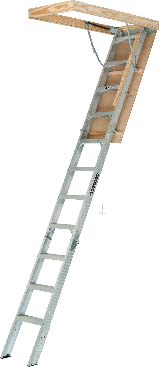 "Louisville Aluminum Attic Step Ladder 25 1/2"" X 54"" Rough Opening - Elite Series 375lbs. Capacity"