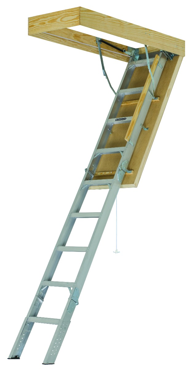 "Louisville Aluminum Attic Step Ladder 25 1/2"" X 54"" Rough Opening - Pinnacle Series 375lbs. Capacity"