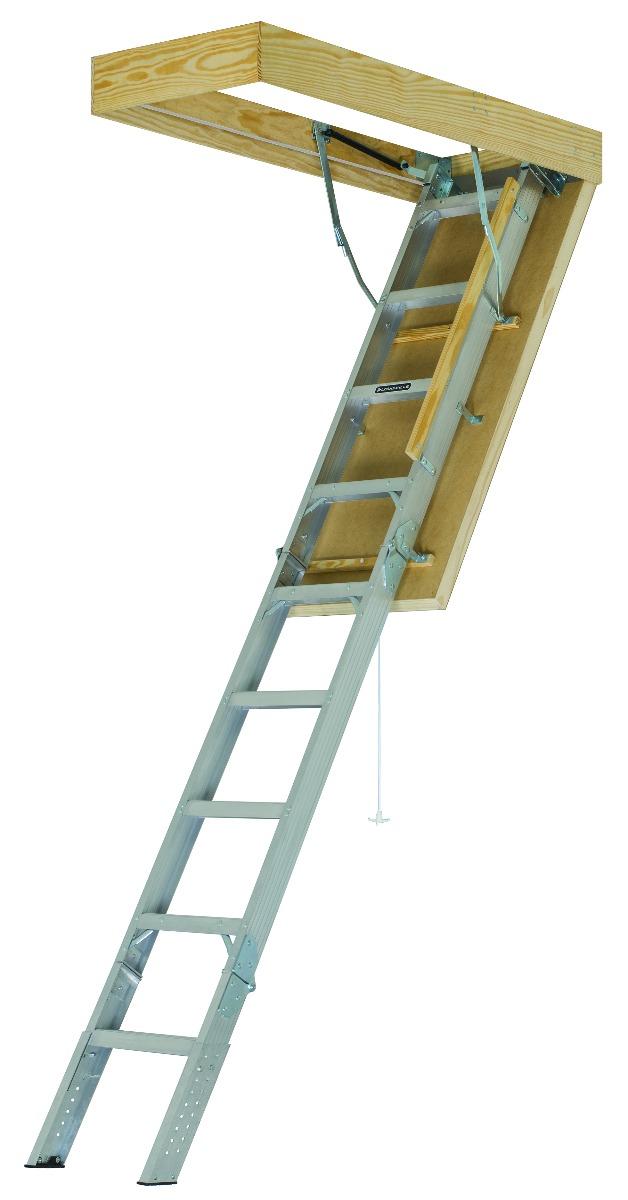 "Louisville Aluminum Attic Step Ladder 30"" X 54"" Rough Opening - Pinnacle Series 375lbs. Capacity"