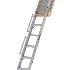 "Louisville Aluminum Attic Step Ladder 25 1/2"" X 63"" Rough Opening - Everest Series 350lbs. Capacity"