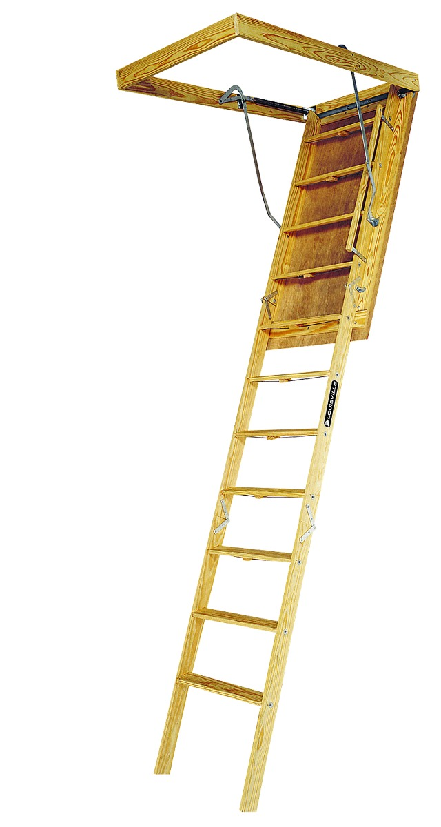 "Louisville Wood Attic Step Ladder 30"" X 60"" Rough Opening - Big Boy Series 350lbs. Capacity"